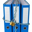 File folders with chain - Stock Photo