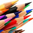 Many colored pencils on white background — Stock Photo