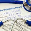Advance directives and stethoscope — Stock Photo