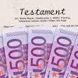 Euro banknotes and testament — Stock Photo #8175116