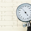 Blood pressure monitor and ecg curve — Stock Photo