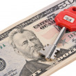 Dollar currency notes and keys safe — Stock Photo