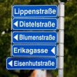 Many different street names — Stock Photo