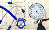 Blood pressure monitoring, ecg and stethoscope — Stock Photo
