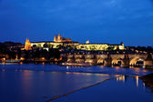 Prague, charles bridge and prague castle — Stock Photo