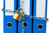 File folders with chain — Stock Photo