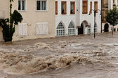 High water and flooding in steyr — Stock Photo