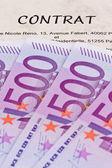 欧元纸币和合同 (法国) — 图库照片
