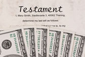 Dollar and english testament — Stock Photo
