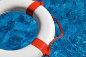 Rescue tires in the pool — Stock Photo
