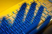 Keyboard and shadows. data theft. — Stock Photo