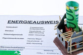 Carcass home with energy certificate — Stock Photo