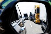 Truck traffic jam on highway — Stock Photo