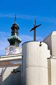 Old and new church in oberwart — Stock Photo
