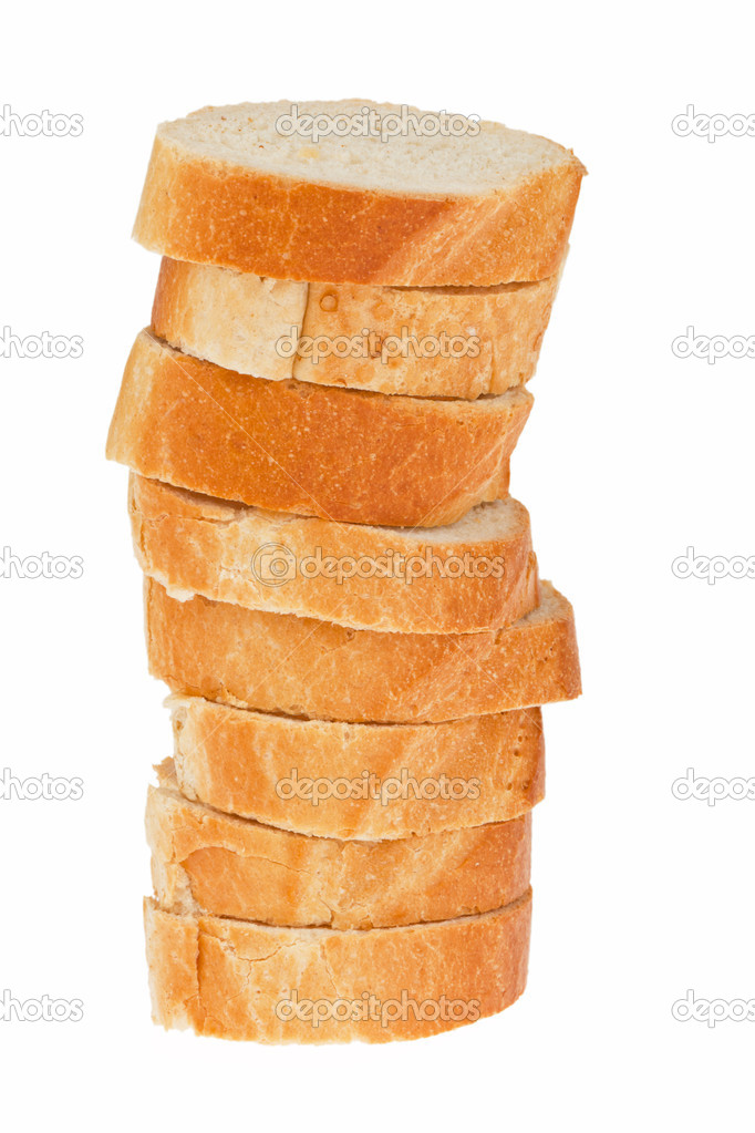 Several slices of bread from a french baguette on one another. — Stock Photo #8175255