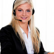 Woman with headset and computer — Stock Photo #8180857