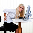 Woman with pain in the back office — Stock Photo #8181855