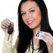 Woman with car keys and driver's license. — Stock Photo #8185939