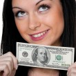 Womwith dollar bill — Stock Photo #8185941