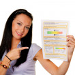 Woman with an energy performance certificate (austria) — Stock Photo #8186115