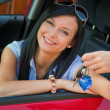 Young woman in the car with ingition — Stock Photo #8186158
