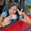 Stok fotoğraf: Young womin car with ingition