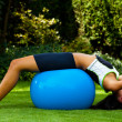 Woman with exercise ball — Stock Photo #8186178