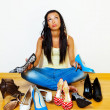 Woman with many shoes to choose from — Foto de Stock