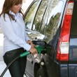 Attractive womrefuel car at gas station — Stock Photo #8187192