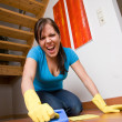 Housewife is cleaning her flat — Stock Photo