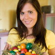 Beauty woman holding Easter basket — Stock Photo #8187206