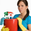Cleaning woman with cleanser - Foto Stock