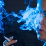 Woman smoking a cigar — Stock Photo #8187566