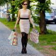 Woman with shopping bags when shopping — Stock Photo