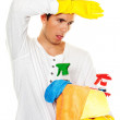 Man with cleaning fluid. cleaning the apartment. - Stock Photo