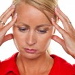 Pensive woman with headache — Stock Photo