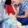 Housewife with washing machine — Stock Photo #8188701