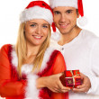 Pair for christmas with caps — Stock Photo
