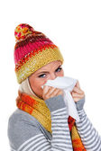 Woman with rhinitis and cold — Stock Photo