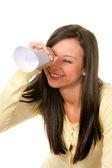 Woman with binoculars looking to the future — Stock Photo