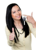 Woman with car keys and driver's license. — Stock Photo