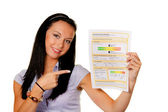 Woman with an energy performance certificate (austria) — Stock Photo
