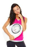 Woman is dissatisfied with body weight — Stock Photo