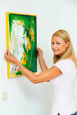 Woman depends on image — Stock Photo
