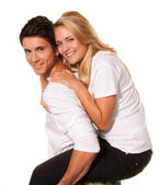 Laughing young couple have fun — Stock Photo