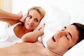 Snore while sleeping — Stock Photo