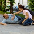 Husband has vertigo or heart attack — Stock Photo #8190002