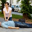 Cardiac massage. first aid for heart attack - ストック写真
