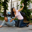 Husband has vertigo or heart attack — Stock Photo