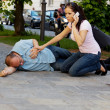 Husband has vertigo or heart attack - Stock Photo